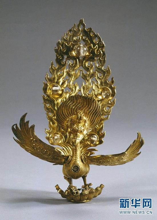 大理国银鎏金镶珠金翅鸟。(云南省博物馆供图)
