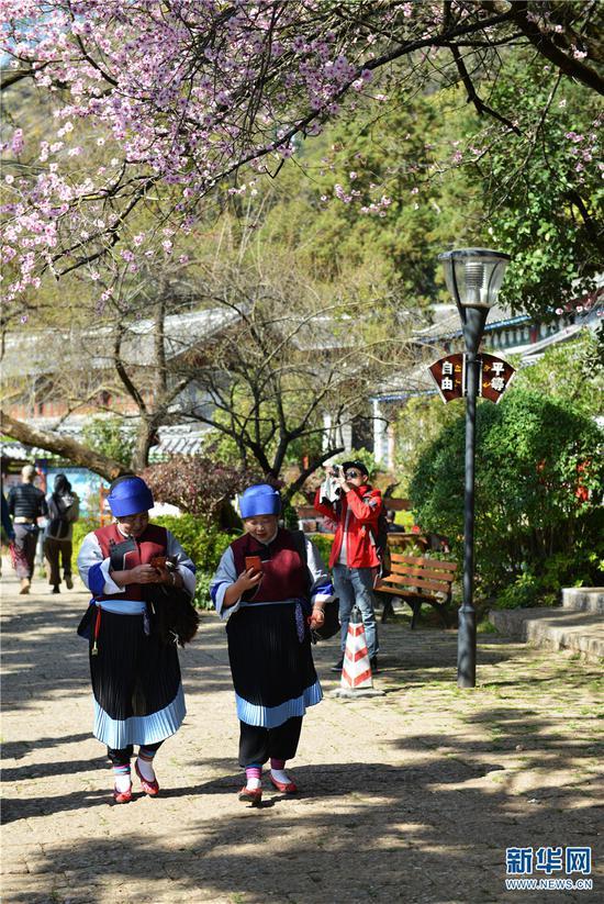 公园内身着纳西族服饰的游人。