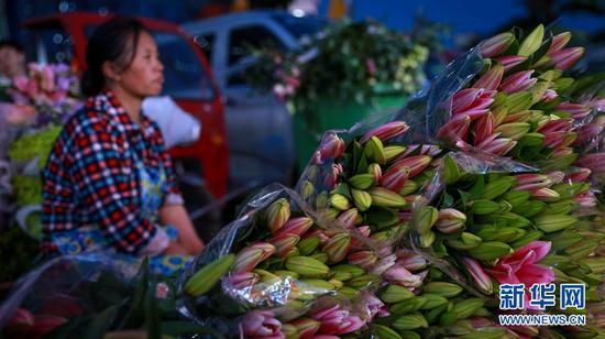 斗南夜市,大量的鲜花汇集到这里进行交易。新华网 潘越 摄