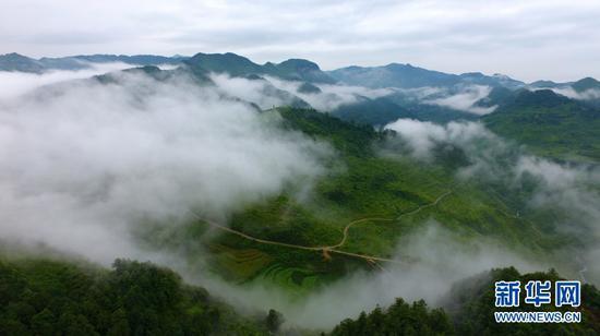 图为曲靖市富源县普克营村云雾缭绕的山川。新华网 赵普凡 摄