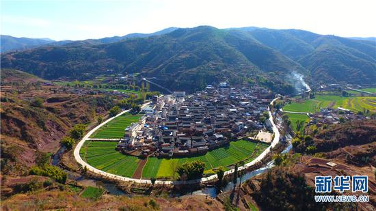 图为航拍祥云县下庄镇金旦村。