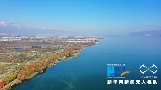 航拍大理洱海生态廊道(2020年12月9日摄)。新华网 赵普凡 摄