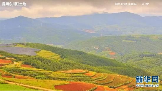 昆明东川红土地。(直播画面截图)