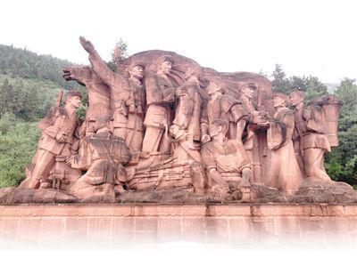 会泽水城扩红文化生态园群雕。记者 李茂颖摄