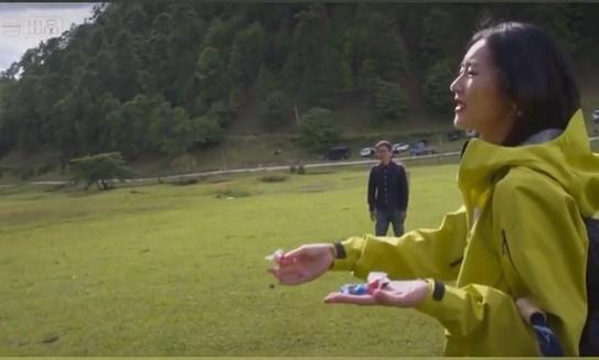 图注:刘雯给毛驴喂糖果