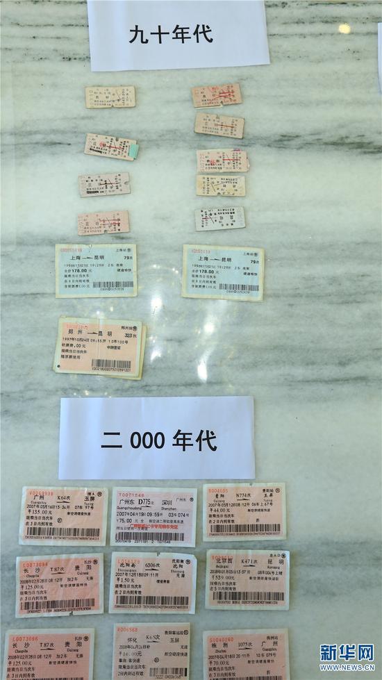 90年代和00年代的火车票 新华网 潘越 摄