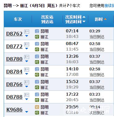 现在从昆明乘坐动车前往丽江需要3小时左右/网页截图
