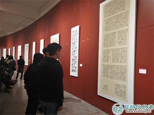 市民观赏展出的书法作品。