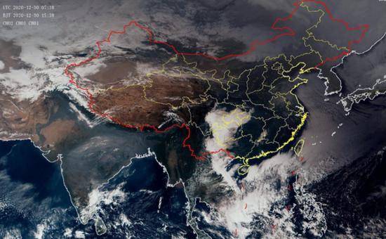 ▲12月30日15时38分的卫星云图