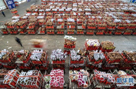 工作人员在昆明斗南花卉交易市场物流区运送鲜切花(2020年2月10日摄)。新华社记者 江文耀 摄