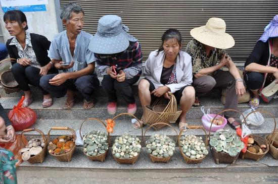 ▲村民集市上售卖野生菌