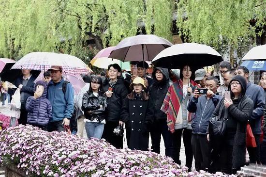 游客市民纷纷驻足观看