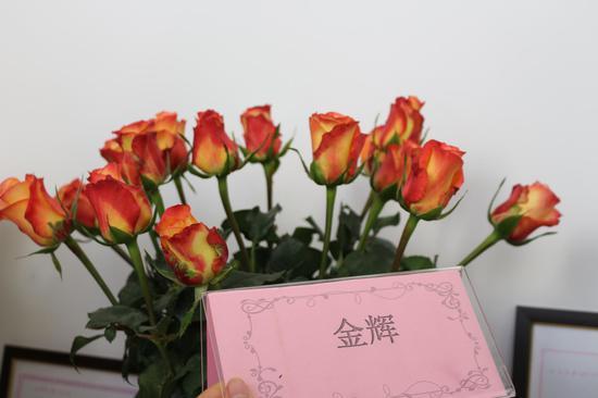 """以段金辉名字命名的自主研发品种月季""""金辉"""""""