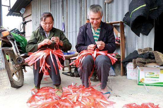 黄湘兰夫妇在王顺席与四个伙伴的中药材种植基地上务工