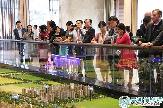 外国驻华使节团参观七彩云南古滇文化名城。记者甘凌菲摄