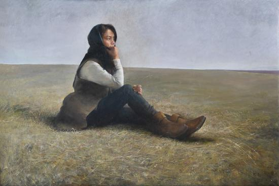 《微风初起》-100x150-2016年,入选2016年吴冠中艺术馆全国油画作品展