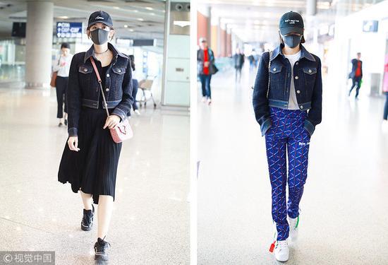 娜扎 VS 宋茜撞衫:Chanel粗呢拼接牛仔短夹克。 (图片来源:视觉中国)