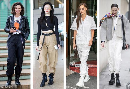 贝拉哈迪德、奚梦瑶等时髦精都喜欢用短靴来搭配。帅气又保暖。 (图片来源:视觉中国)