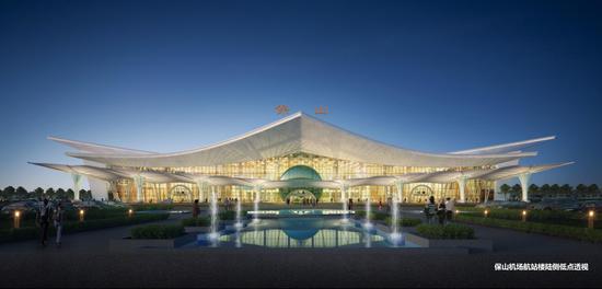 正在改扩建的保山机场航站楼效果图1
