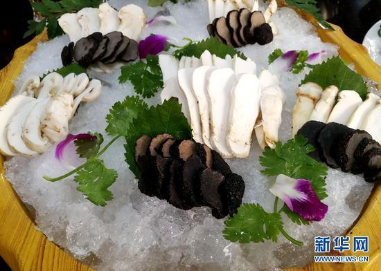 野生菌做成的美味佳肴。新华网 普凡 摄