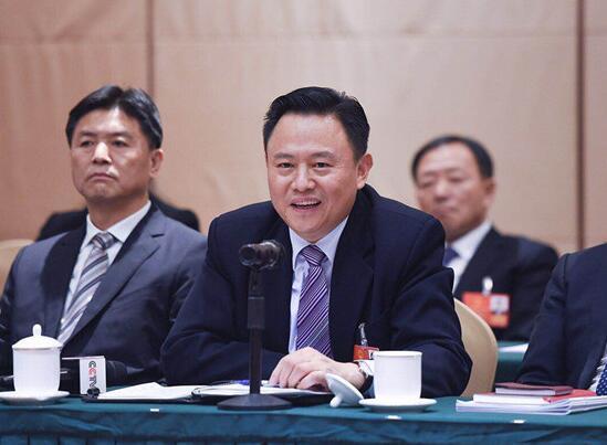 全国人大代表、一汽集团董事长徐留平接受采访 人民网记者 胡挹工摄