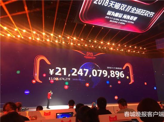 00:12:14,2018天猫双11成交额超362亿元,已超过2013年双11全天的成交额。