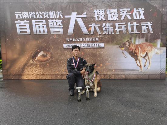 """镇沅警犬""""小帅""""在云南省首届警犬搜爆实战练兵比武中获得佳绩"""