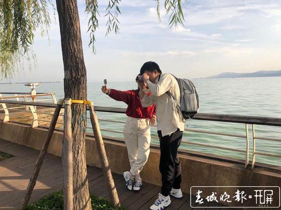 """昆明海埂公园开启""""投喂""""模式 不少游客前来观鸥"""
