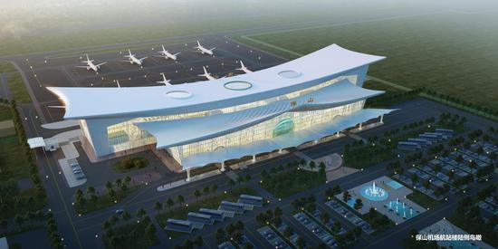 正在改扩建的保山机场航站楼效果图2