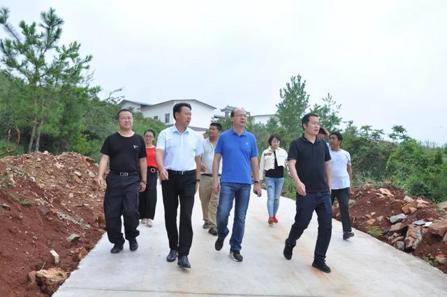 ▲州委宣传部常务副部长付闯(前右二)到曲江镇调研