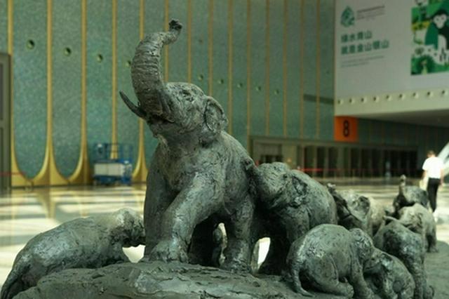 COP15主题雕塑大象群雕作品在云南揭幕