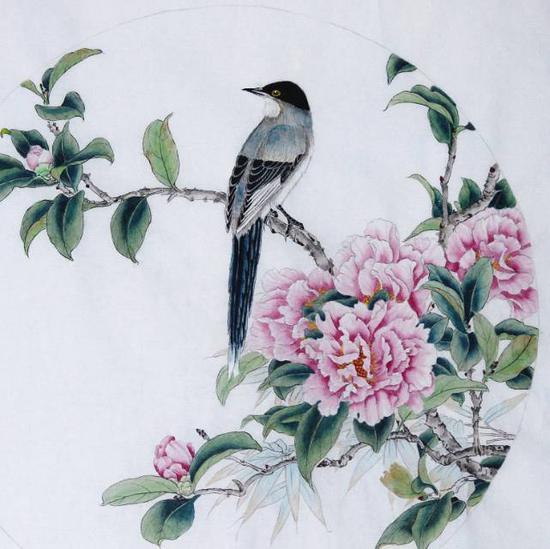 绘画作品《鸟语花香》