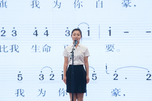 云南建投第二建设有限公司饶乐林作题为《我的骄傲》的演讲 通讯员冯靖凯/摄