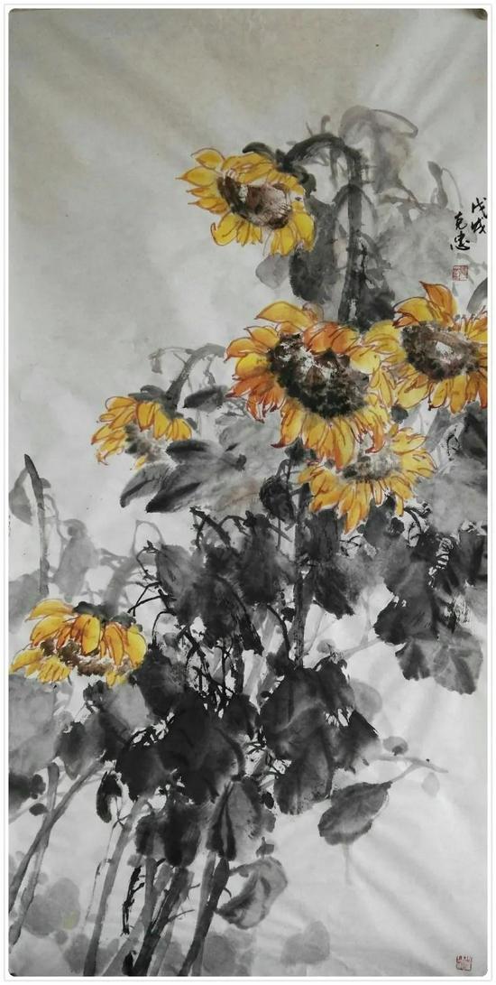 △如克忠的中国画作品《向日葵》