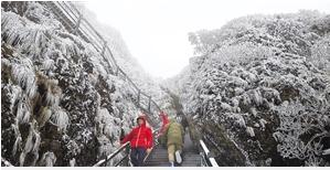 快来玩雪!轿子山银装素裹积雪深处超15厘米