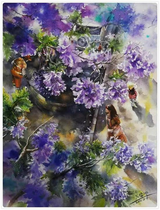 △王卫中的水彩画作品《与美相伴》