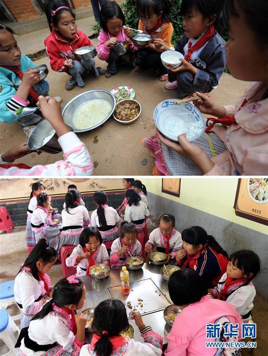 云南省禄劝彝族苗族自治县翠华镇汤郎箐小学学生在吃午餐。