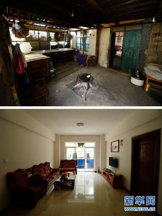 上图:金满村村民的老房子;下图,金满村村民安置点的新房子(5月11日摄,拼版照片)
