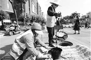 城市排水公司的工作人员在环城西路清淤 记者 杨峥 摄