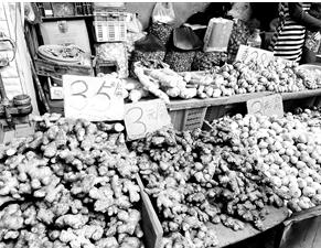 篆新农贸市场的生姜涨到35元/公斤
