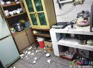 楚雄一市民家,碗筷被震落一地。