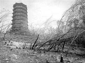 火灾后的靖宁宝塔