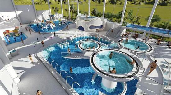 恐龙主题度假酒店温泉水疗中心室外泡池