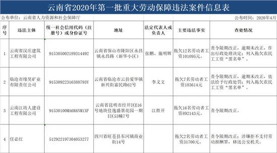 云南省2020年第一批重大劳动保障违法案件信息表