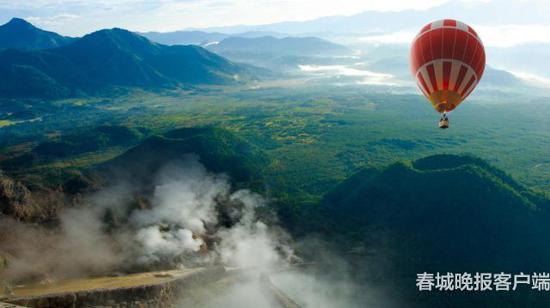 坐热气球看火山