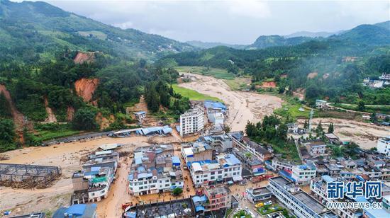 麻栗坡县猛硐瑶族乡洪涝灾害现场(9月3日无人机拍摄)。