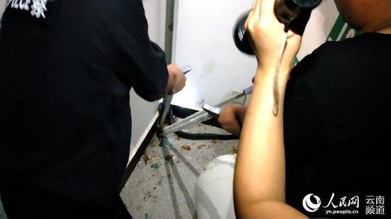 几经周折,出警民警终于将蛇头紧紧的钳稳。摄影:张志池