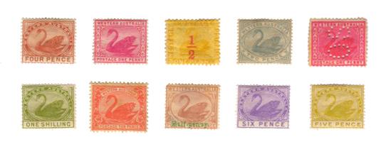 西澳大利亚早期邮票,首张发行于1861年。