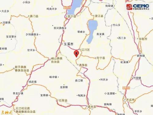 图中红点处为震中位置