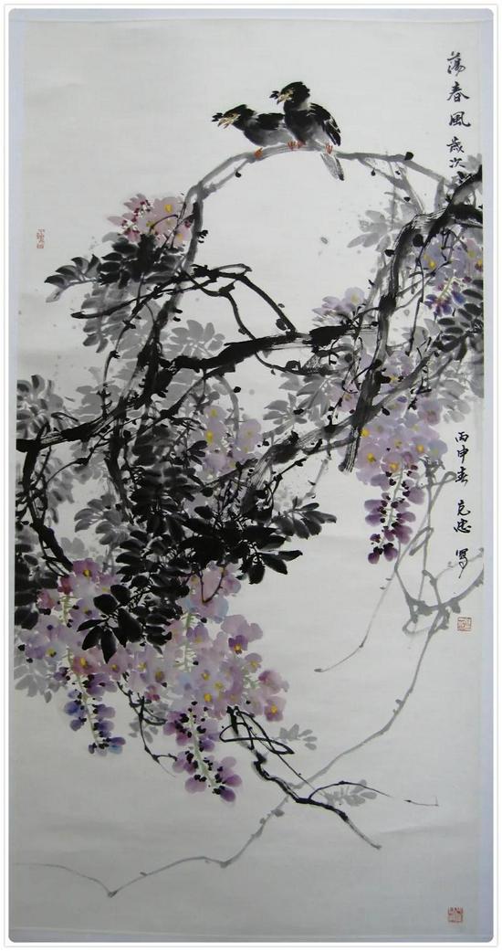 △如克忠的中国画作品《紫藤》